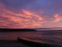 Red sky over Filey Brigg