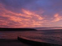 Red sky over Filey Brigg